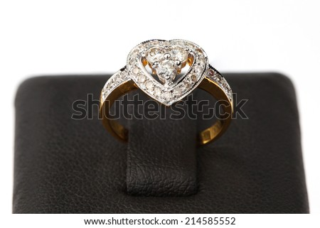 Golden Ring with Diamond on base, Isolated on white background, Heart style  - stock photo
