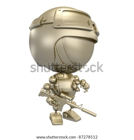 Golden robot - soldier with gun and grenades