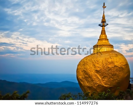 Golden rock, Kyaikhtiyo pagoda, Myanmar.They are public domain or treasure of Buddhism, no restrict in copy or use. - stock photo