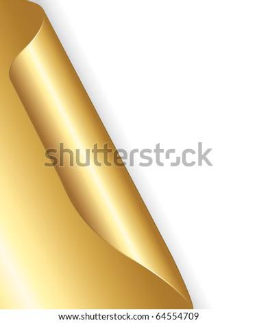 Golden rolled-up corner paper. Festive background. - stock photo