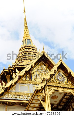 Golden roof on the grand palace,Bangkok Thailand. - stock photo