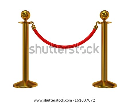 Golden rope barrier - 3d render. Fence with red rope isolated on white. Luxury, VIP concept - stock photo