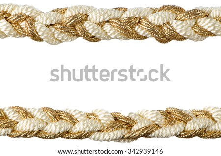 Golden rope curtain tassels isolated on white background. - stock photo