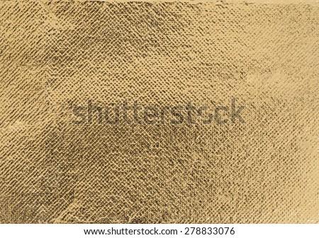 Golden rough wrinkle foil texture - stock photo