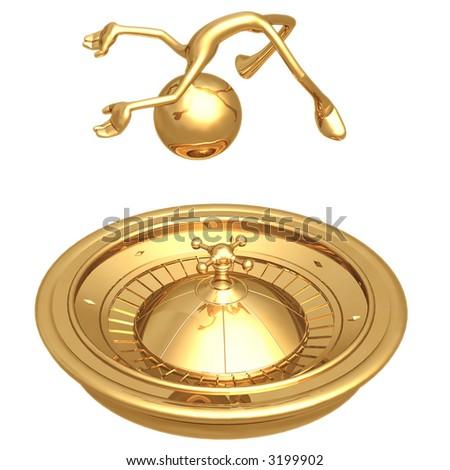 Golden Roulette Wheel - stock photo