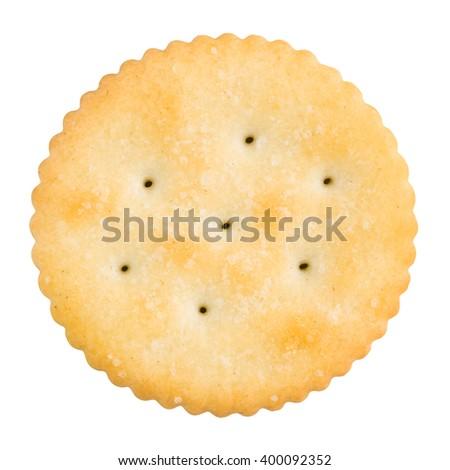 Golden round cracker isolated on white - stock photo