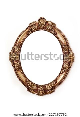 golden round frame isolated on white background. - stock photo