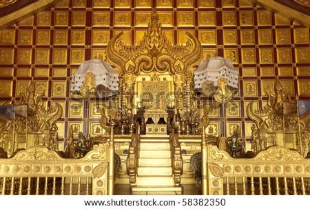 Golden Royal Pavilion for King - stock photo