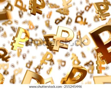 Golden ruble signs raining. - stock photo