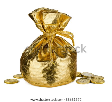 Golden  sack and some money isolated on white - stock photo