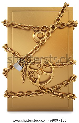 golden Safe clad in gold chain with a lock. isolated on white. with clipping path. - stock photo