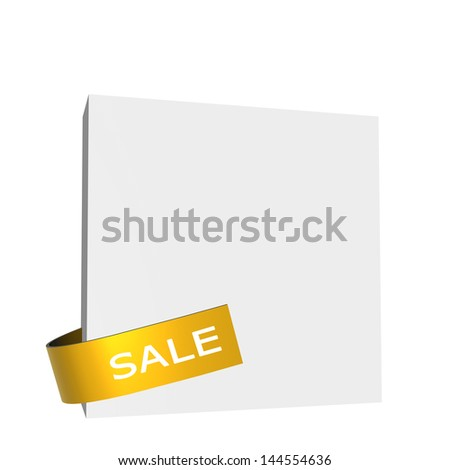 Golden sale sign on white square board - stock photo
