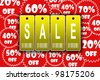 Golden sale tags advertisement on the red great discount background - stock photo