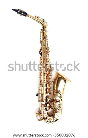 Golden saxophone isolated on white background - stock photo