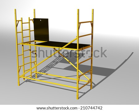 golden Scaffolding, perspective view - stock photo