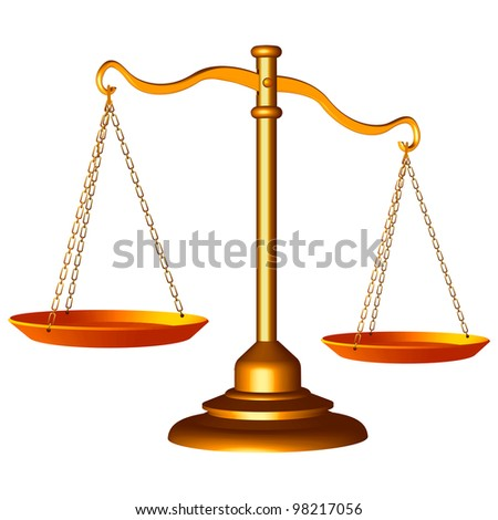 golden scale of justice against white background, abstract art illustration