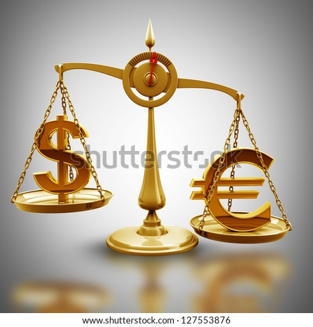 Golden Scale with symbols of currencies Euro vs US dollar High resolution 3d render - stock photo