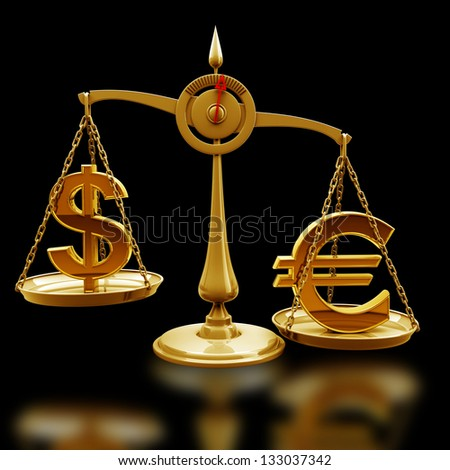 Golden Scale with symbols of currencies Euro vs US dollar isolated on black background High resolution 3d render - stock photo