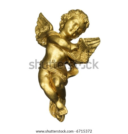 golden sculpture of an angel playing the harp (isolated on white) - stock photo