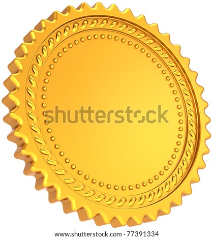 Golden seal award medal blank. Shiny luxury champion badge bonus label. Certificate guarantee design element template. This is a detailed CG image 3d render. Isolated on white background - stock photo