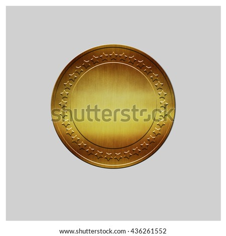 Golden seal - on isolated background,Round golden medal,golden blank label,gold metal plate - stock photo