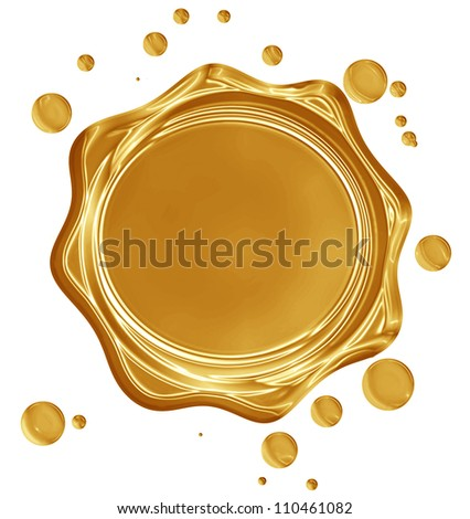 Golden seal with highlights on a solid white background - stock photo