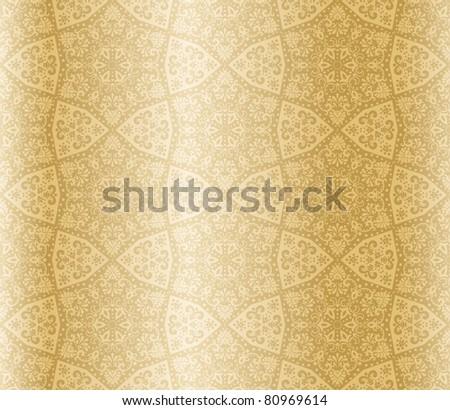 Golden seamless arabesque (jpg); vector version also available - stock photo
