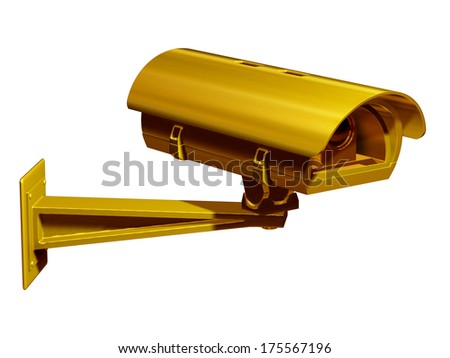 golden security camera on wall arm - stock photo