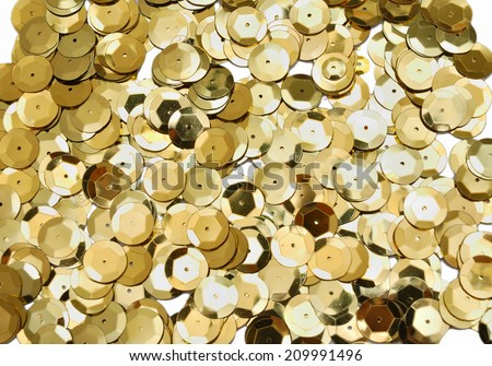 Golden sequins pattern texture - stock photo