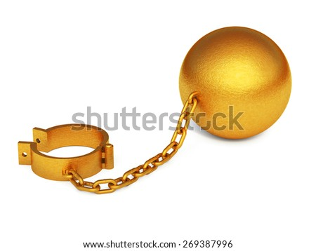 Golden shackles isolated on the white background - stock photo