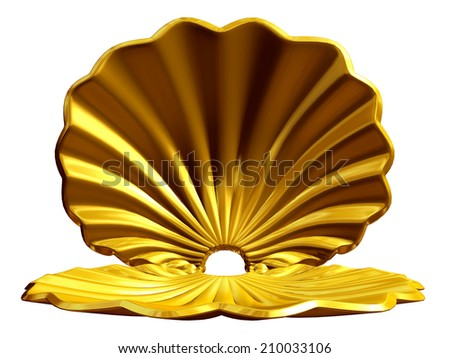 golden shell, useful for presentation background  - stock photo