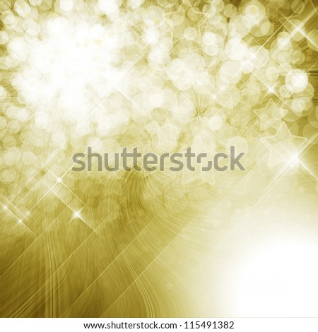 Golden shining background with defocused lights - stock photo