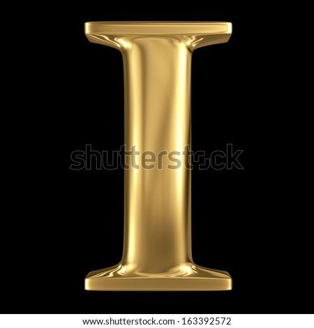 Golden shining metallic 3D symbol capital letter I - uppercase isolated on black - stock photo