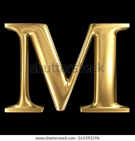Golden shining metallic 3D symbol capital letter M - uppercase isolated on black - stock photo