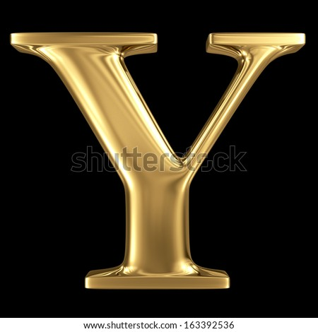 Golden shining metallic 3D symbol capital letter Y - uppercase isolated on black - stock photo