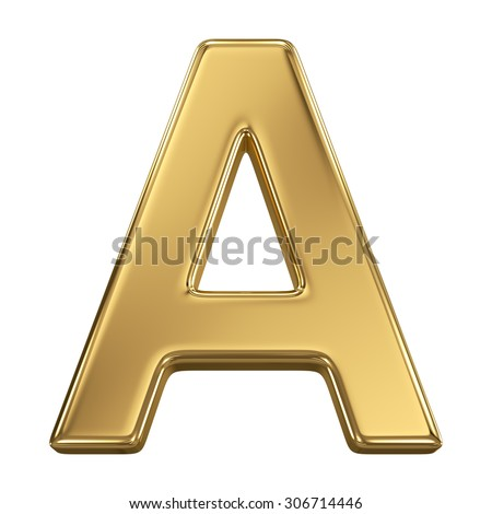 Golden shining metallic 3D symbol letter A - isolated on white - stock photo