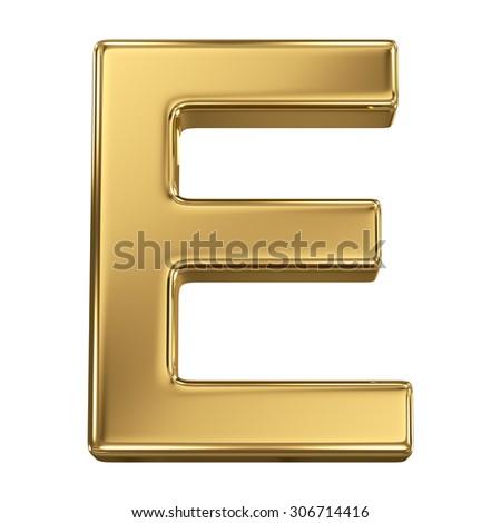 Golden shining metallic 3D symbol letter E - isolated on white - stock photo