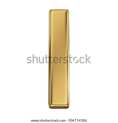 Golden shining metallic 3D symbol letter I - isolated on white - stock photo