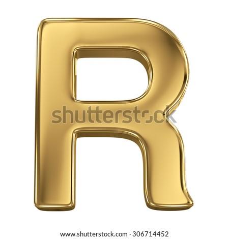 Golden shining metallic 3D symbol letter R - isolated on white - stock photo