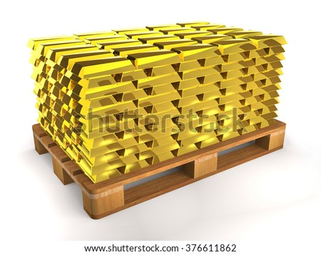 Golden shiny ingots on a wooden pallet on white background. - stock photo
