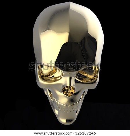 golden shiny polished metal skull 3d render isolated on black background top view
