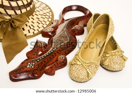 Golden shoes - stock photo