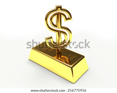 Golden sign dollar and golden bar isolated on the white background - stock photo