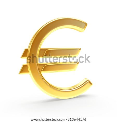 Golden sign of EURO isolated on a white background