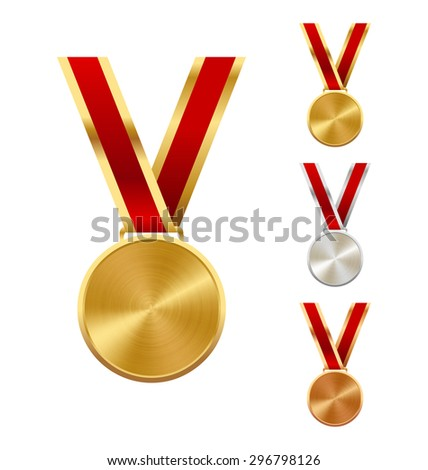 Golden Silver and Bronze Festive Winners Medals Isolated on White Background - stock photo