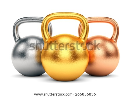 Golden, silver and bronze kettle bells isolated on white background. Sport trophy, winning and award concept. - stock photo