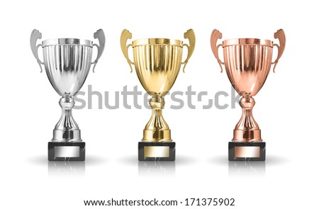 golden,silver and bronze trophies isolated on white background - stock photo