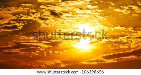 golden sky - stock photo