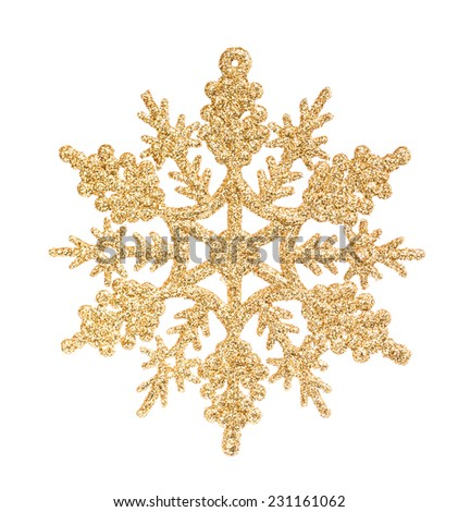 Golden snowflake isolated on the white - stock photo