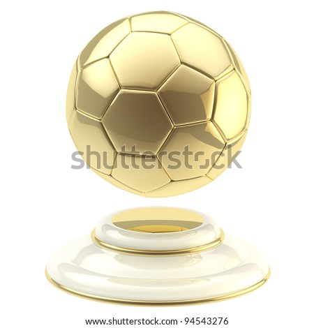 Golden soccer ball champion goblet isolated on white - stock photo